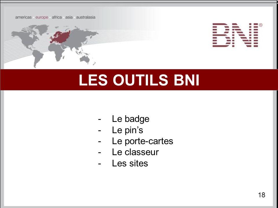 LES OUTILS BNI Le badge Le pin's Le porte-cartes Le classeur Les sites