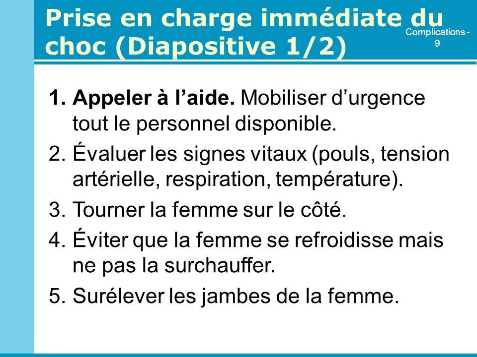 Prise en charge immédiate du choc (Diapositive 1/2)