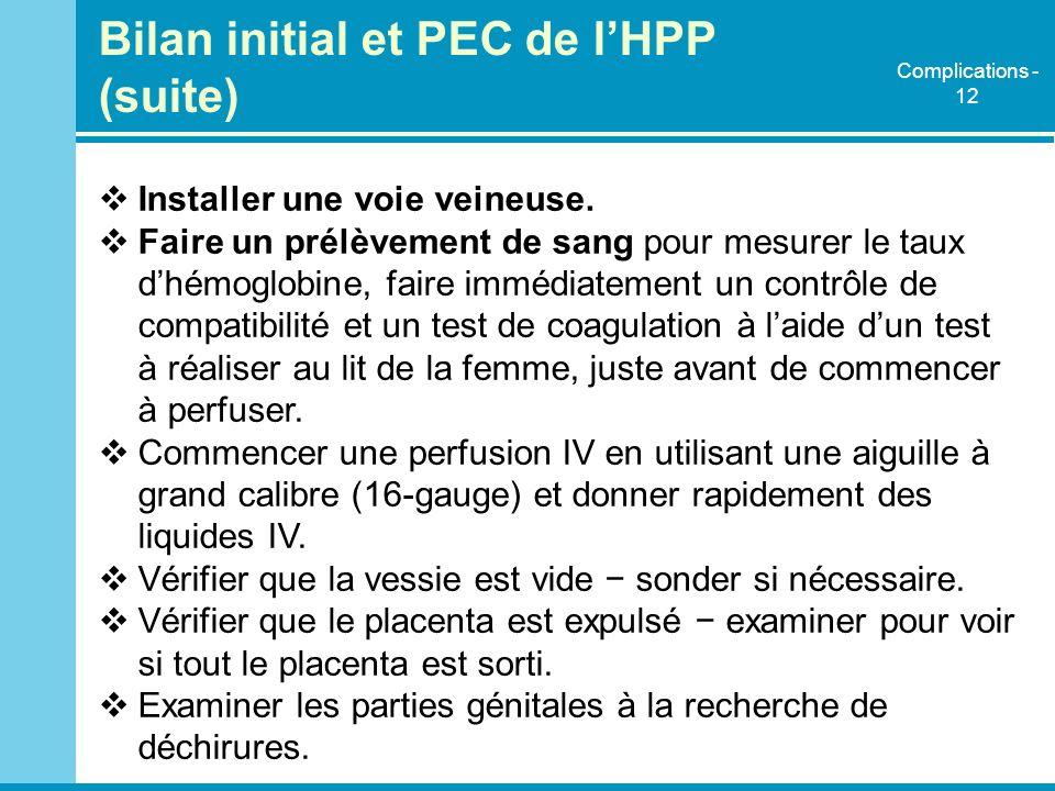 Bilan initial et PEC de l'HPP (suite)