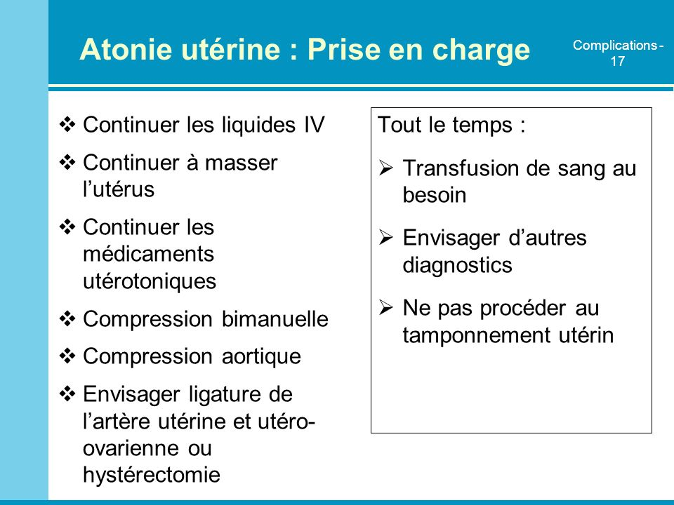 Atonie utérine : Prise en charge