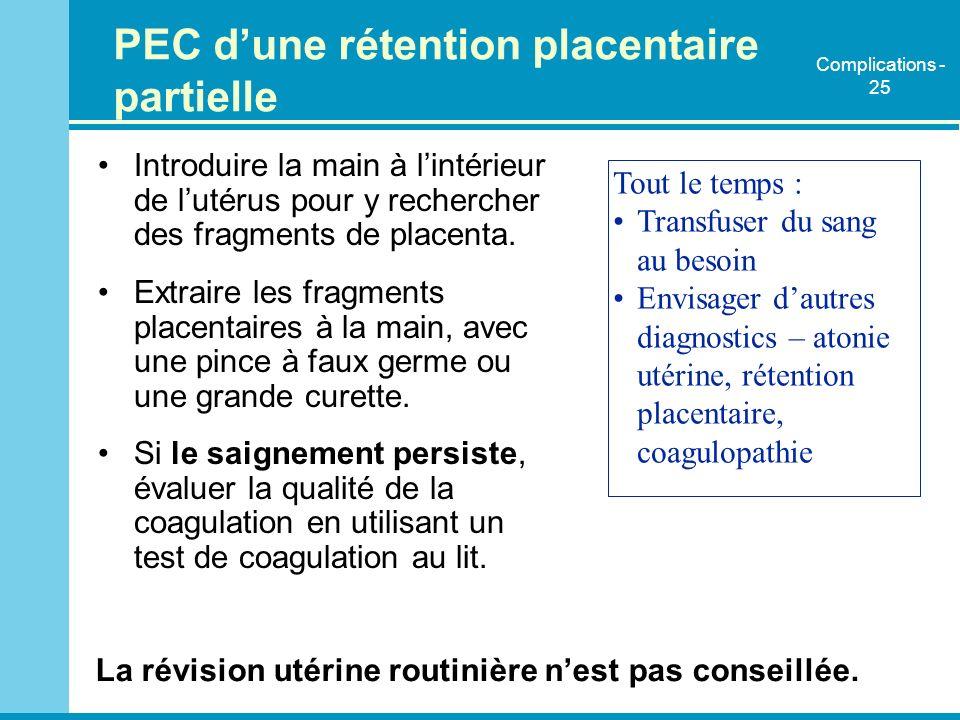 PEC d'une rétention placentaire partielle