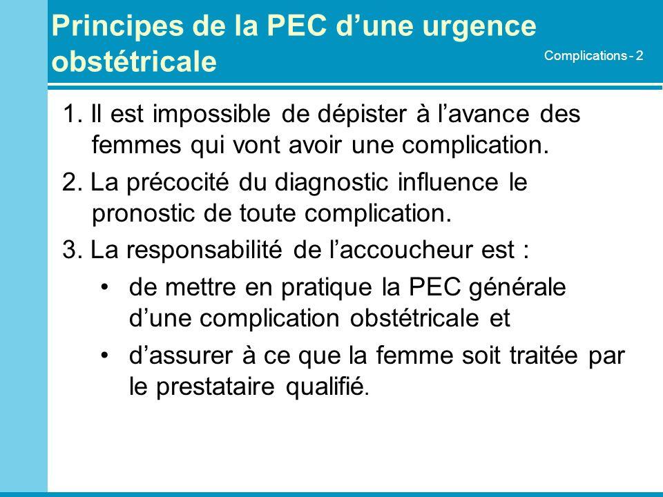 Principes de la PEC d'une urgence obstétricale