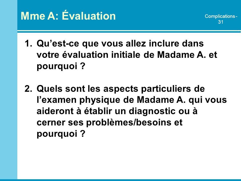 Mme A: Évaluation Complications - 31. Qu'est-ce que vous allez inclure dans votre évaluation initiale de Madame A. et pourquoi