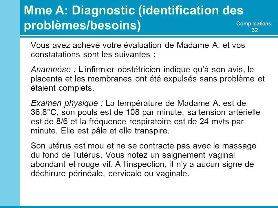 Mme A: Diagnostic (identification des problèmes/besoins)