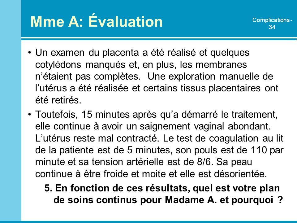 Mme A: Évaluation Complications - 34.