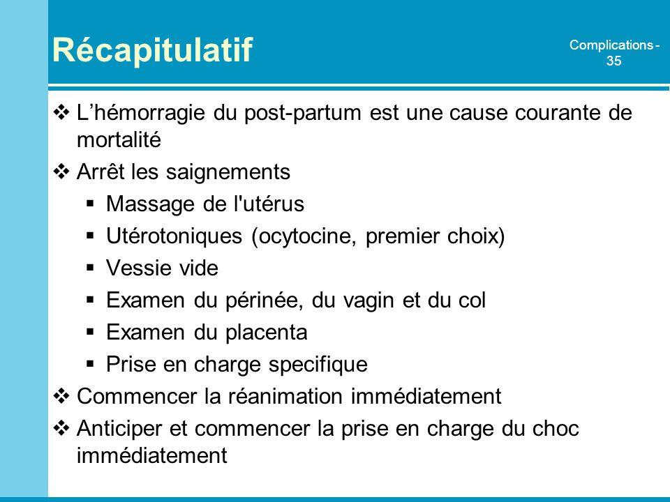 Récapitulatif Complications - 35. L'hémorragie du post-partum est une cause courante de mortalité.