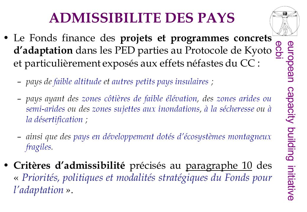 ADMISSIBILITE DES PAYS