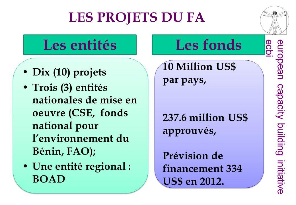 Les entités Les fonds LES PROJETS DU FA 10 Million US$ par pays,