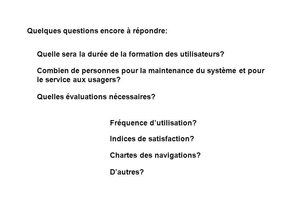 Quelques questions encore à répondre: