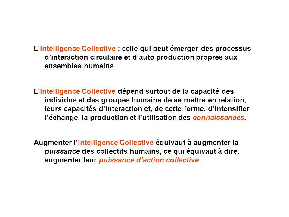 L'Intelligence Collective : celle qui peut émerger des processus d'interaction circulaire et d'auto production propres aux ensembles humains .