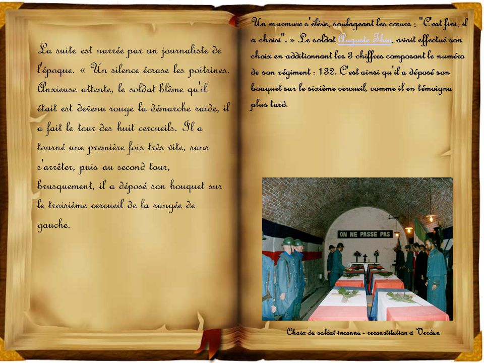 Choix du soldat inconnu - reconstitution à Verdun