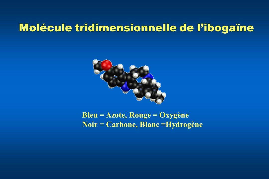 Molécule tridimensionnelle de l'ibogaïne