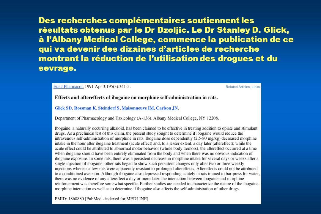 Des recherches complémentaires soutiennent les résultats obtenus par le Dr Dzoljic.