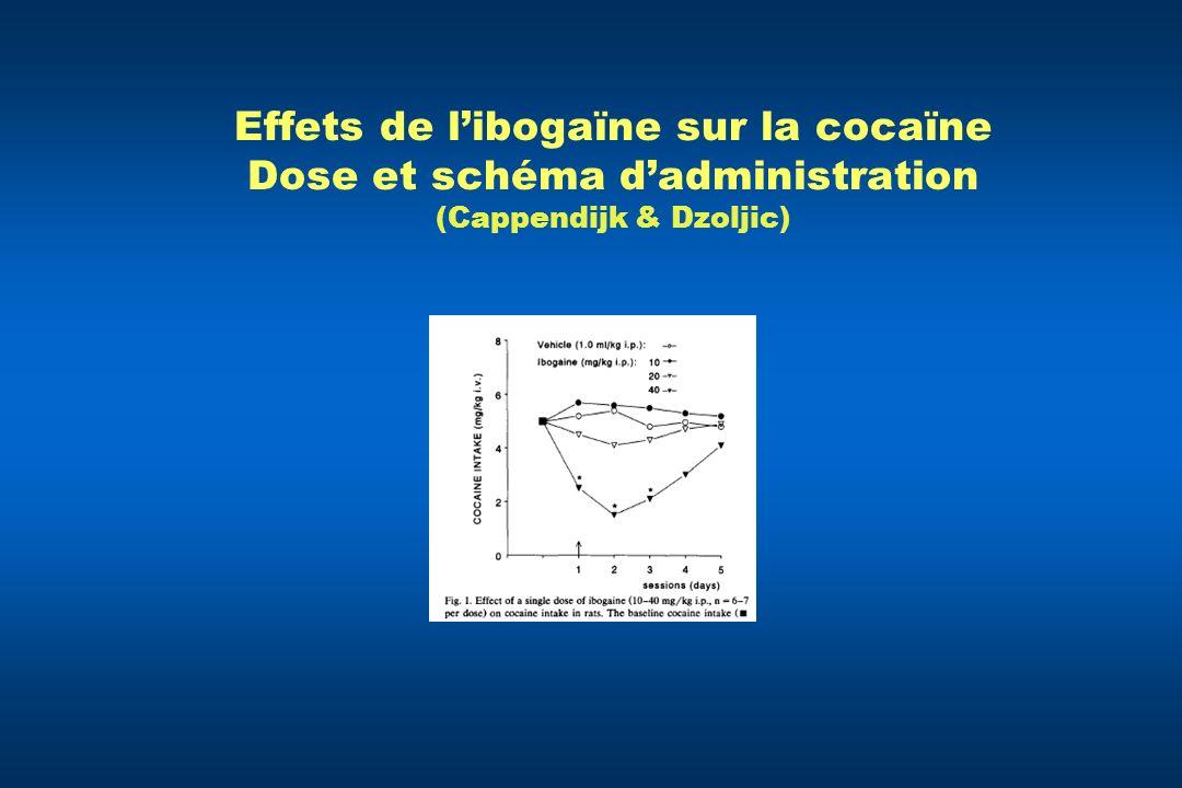 Effets de l'ibogaïne sur la cocaïne Dose et schéma d'administration (Cappendijk & Dzoljic)