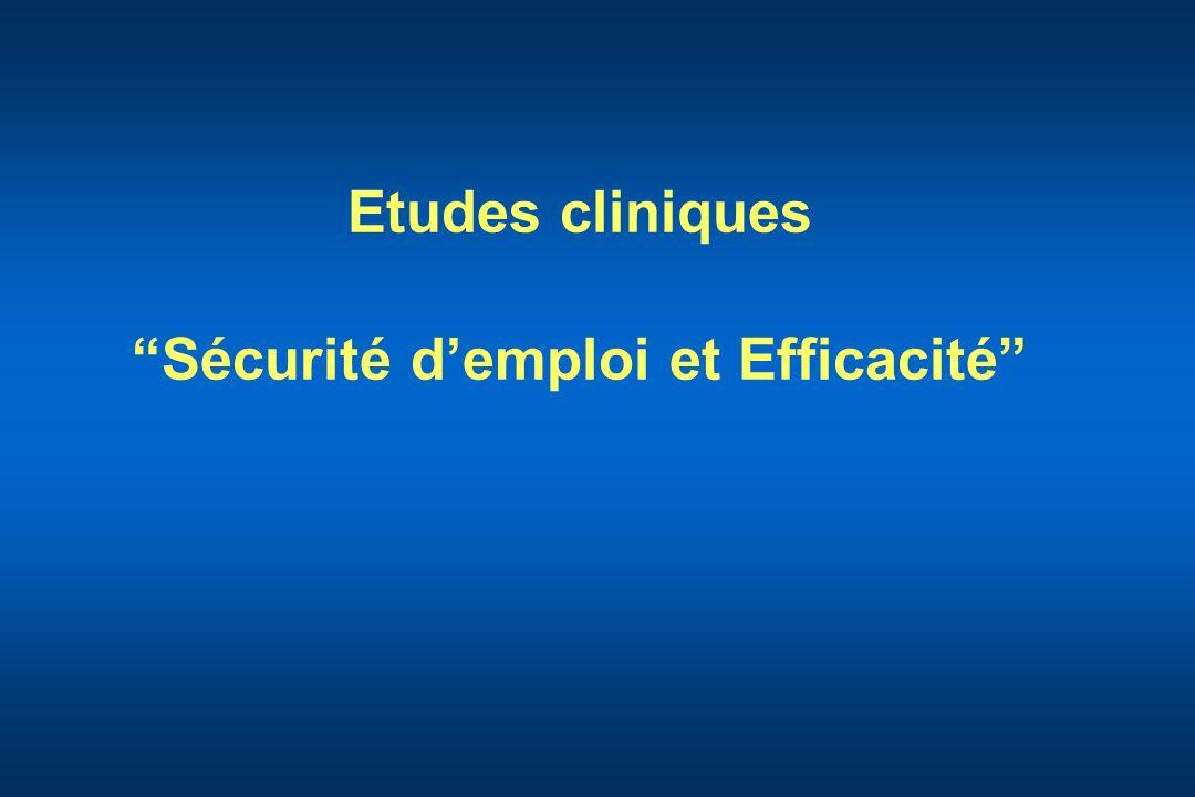 Etudes cliniques Sécurité d'emploi et Efficacité