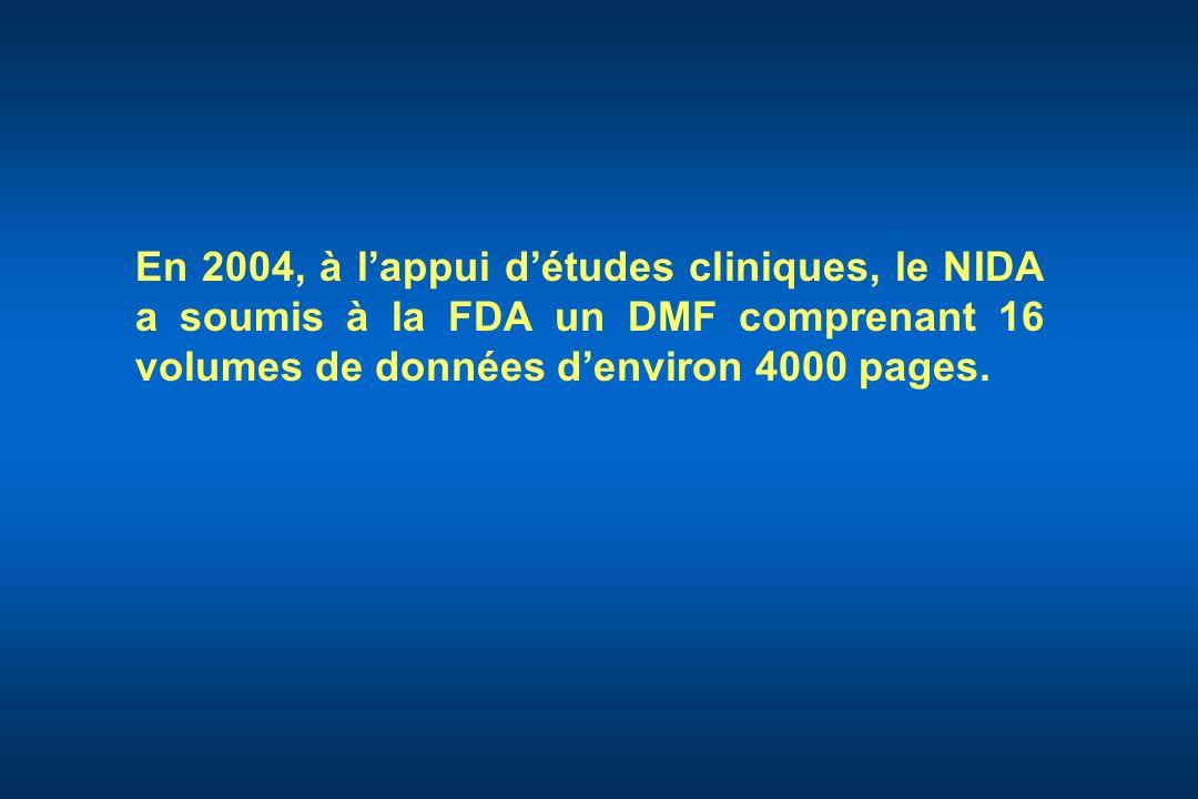 En 2004, à l'appui d'études cliniques, le NIDA a soumis à la FDA un DMF comprenant 16 volumes de données d'environ 4000 pages.