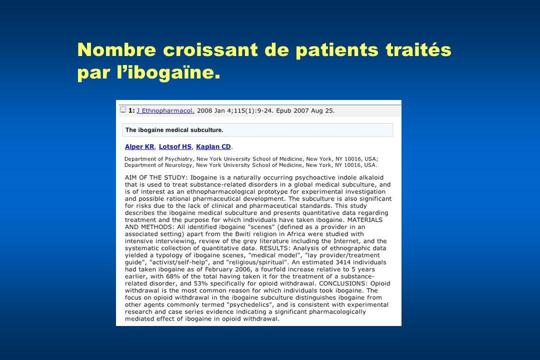 Nombre croissant de patients traités par l'ibogaïne.