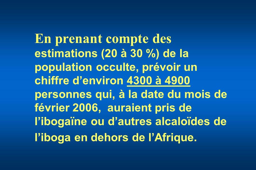 En prenant compte des estimations (20 à 30 %) de la population occulte, prévoir un chiffre d'environ 4300 à 4900 personnes qui, à la date du mois de février 2006, auraient pris de l'ibogaïne ou d'autres alcaloïdes de l'iboga en dehors de l'Afrique.