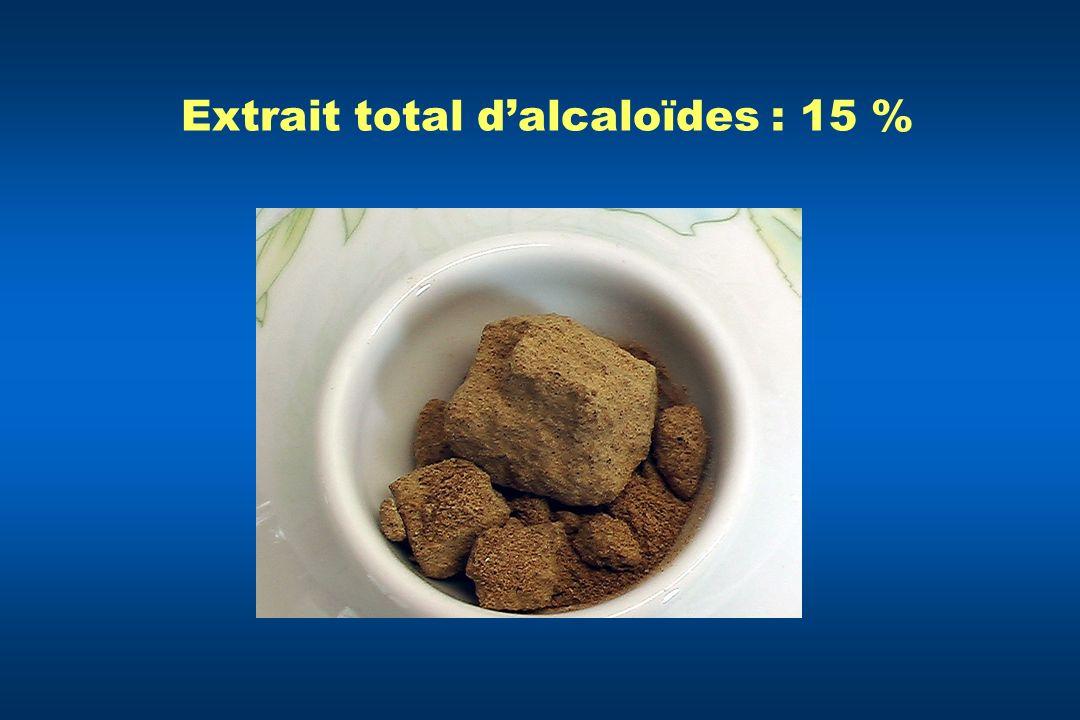 Extrait total d'alcaloïdes : 15 %