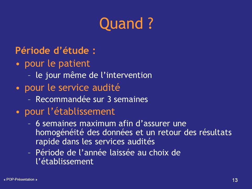 Quand Période d'étude : pour le patient pour le service audité