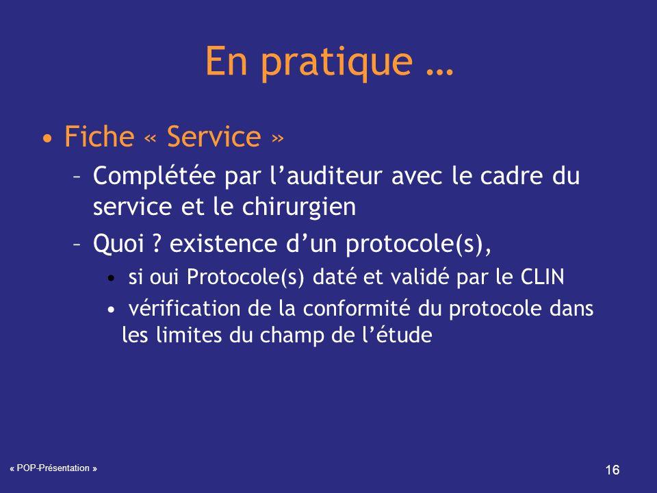 En pratique … Fiche « Service »