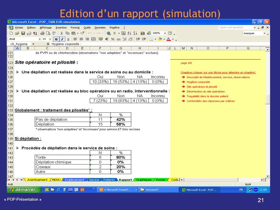 Edition d'un rapport (simulation)