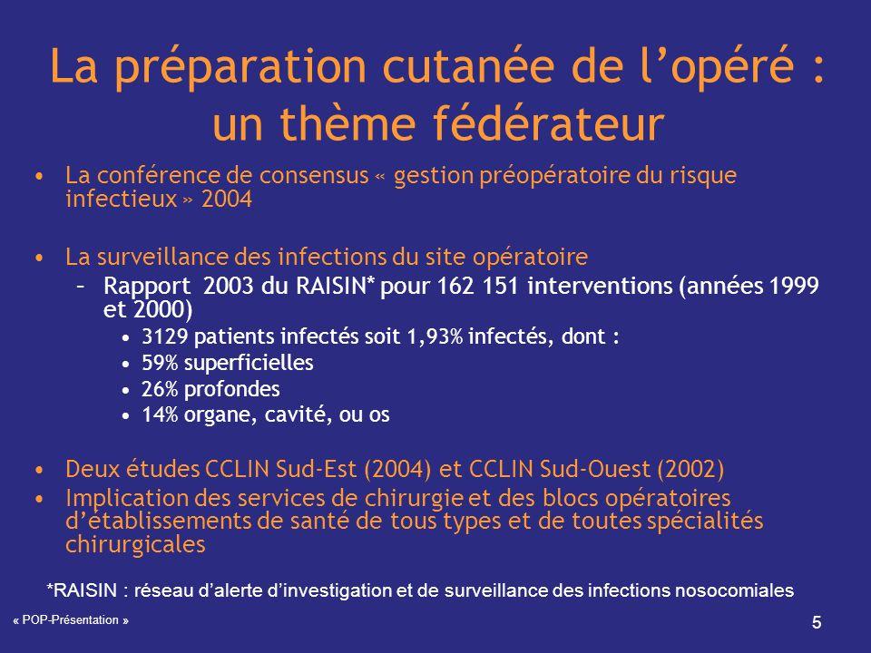 La préparation cutanée de l'opéré : un thème fédérateur