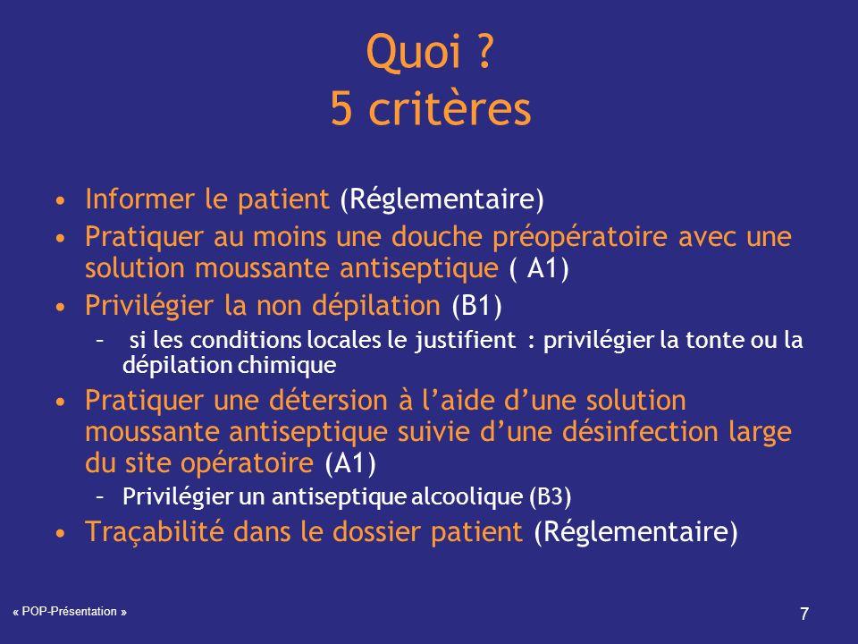 Quoi 5 critères Informer le patient (Réglementaire)