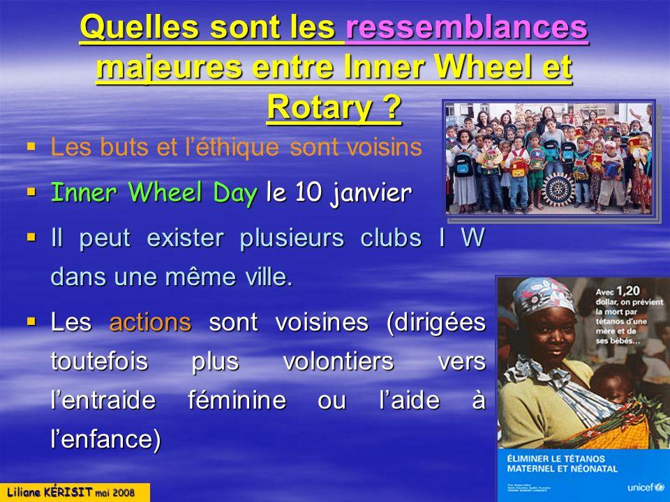Quelles sont les ressemblances majeures entre Inner Wheel et Rotary