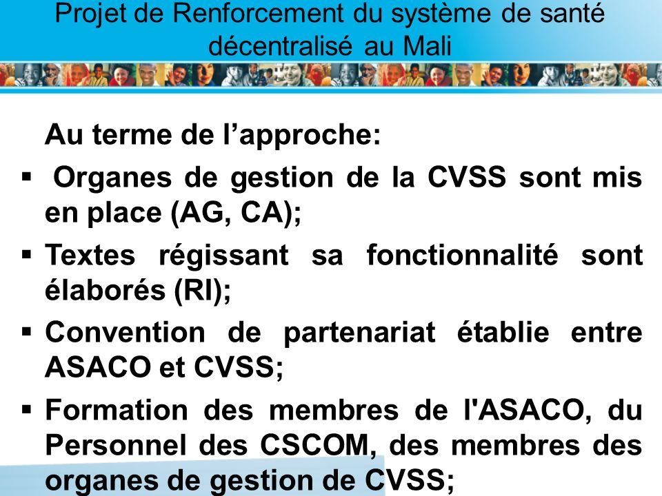 Organes de gestion de la CVSS sont mis en place (AG, CA);