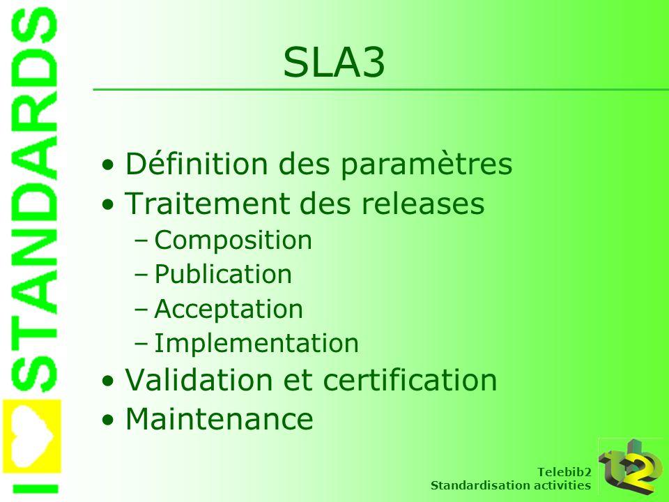 SLA3 Définition des paramètres Traitement des releases