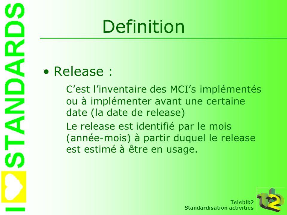Definition Release : C'est l'inventaire des MCI's implémentés ou à implémenter avant une certaine date (la date de release)