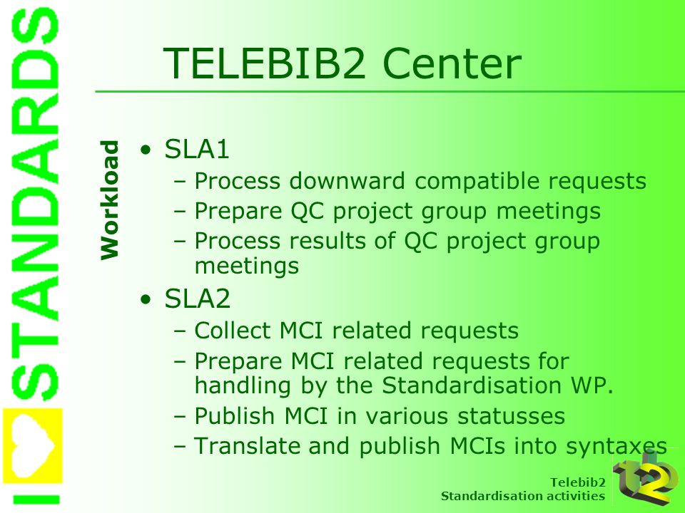 TELEBIB2 Center SLA1 SLA2 Process downward compatible requests