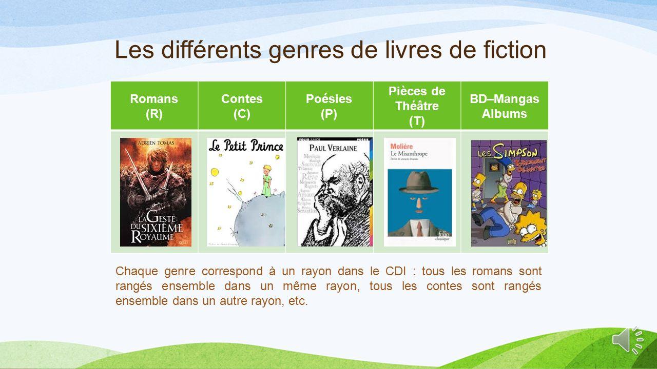 Les différents genres de livres de fiction