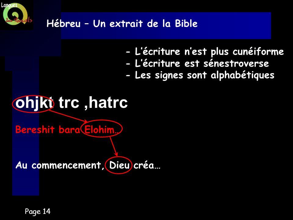 ohjkt trc ,hatrc Hébreu – Un extrait de la Bible