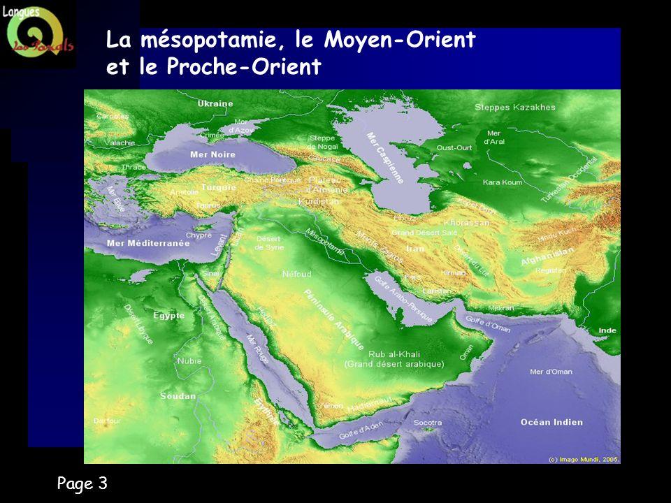 La mésopotamie, le Moyen-Orient et le Proche-Orient