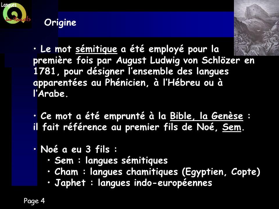Sem : langues sémitiques Cham : langues chamitiques (Egyptien, Copte)