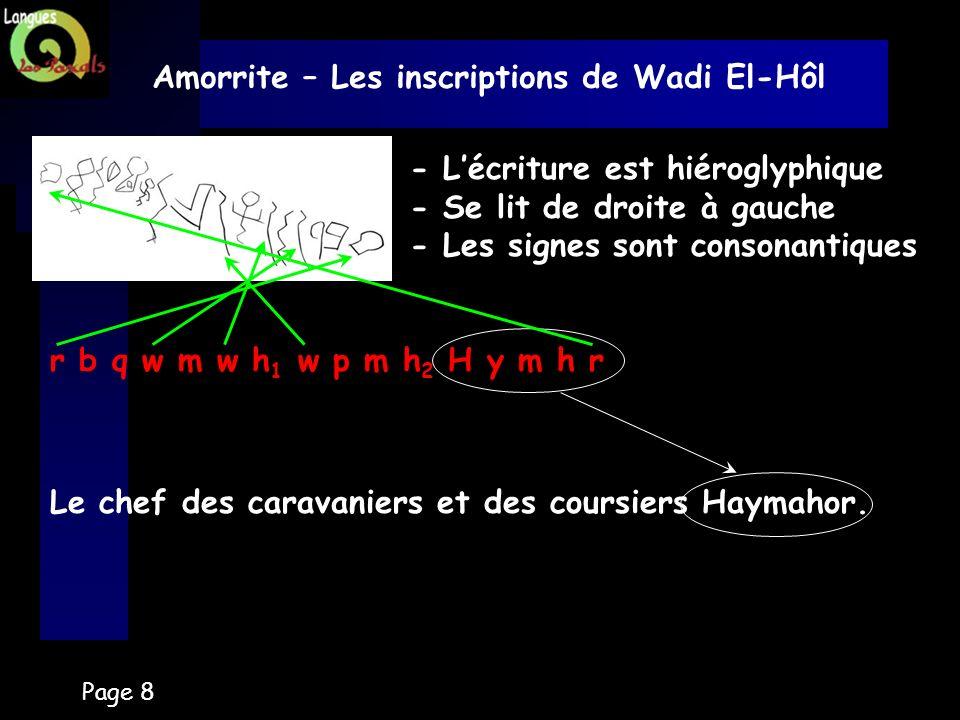 Amorrite – Les inscriptions de Wadi El-Hôl