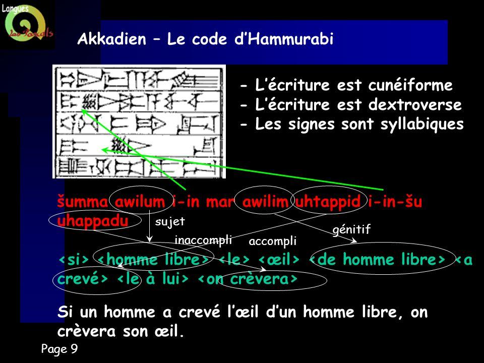 Akkadien – Le code d'Hammurabi