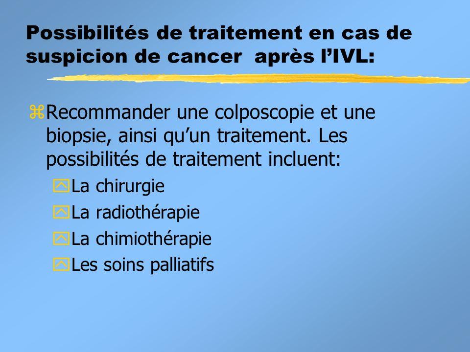 Possibilités de traitement en cas de suspicion de cancer après l'IVL: