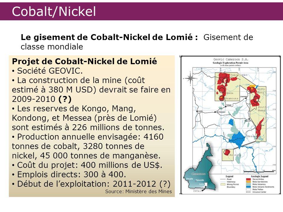 Cobalt/Nickel Le gisement de Cobalt-Nickel de Lomié : Gisement de classe mondiale. Projet de Cobalt-Nickel de Lomié.