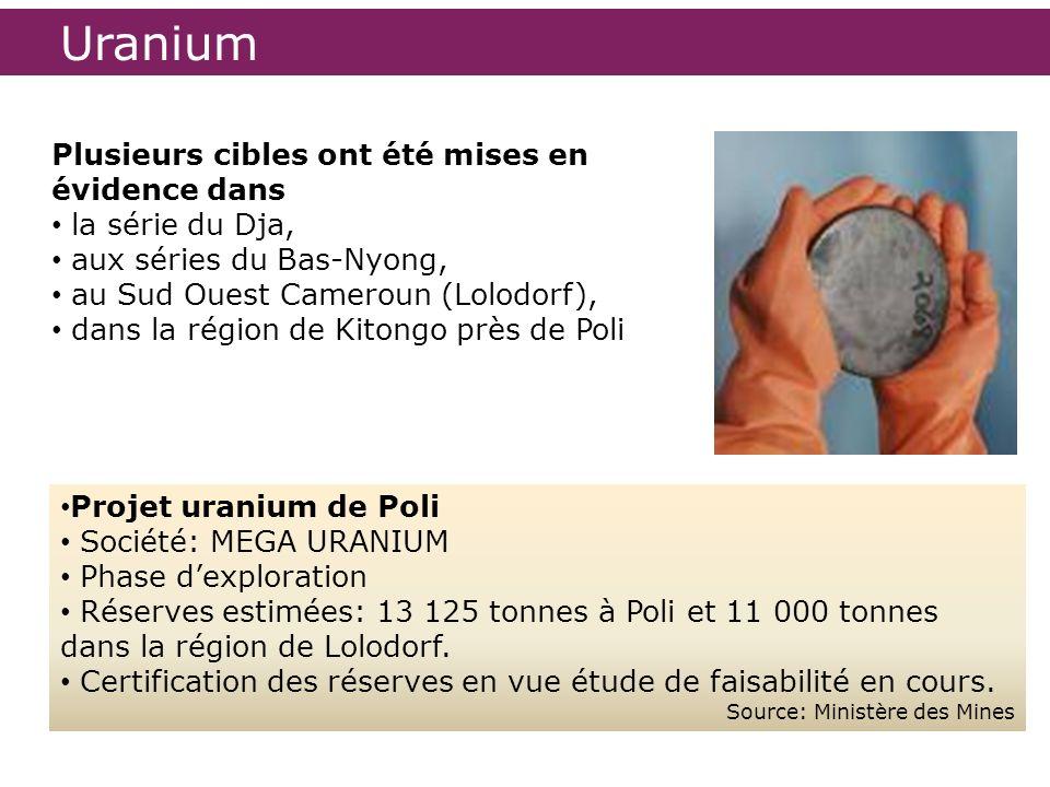 Uranium Plusieurs cibles ont été mises en évidence dans
