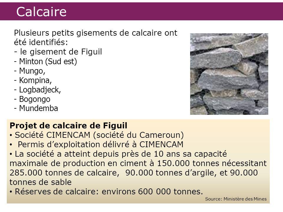 Calcaire Plusieurs petits gisements de calcaire ont été identifiés: