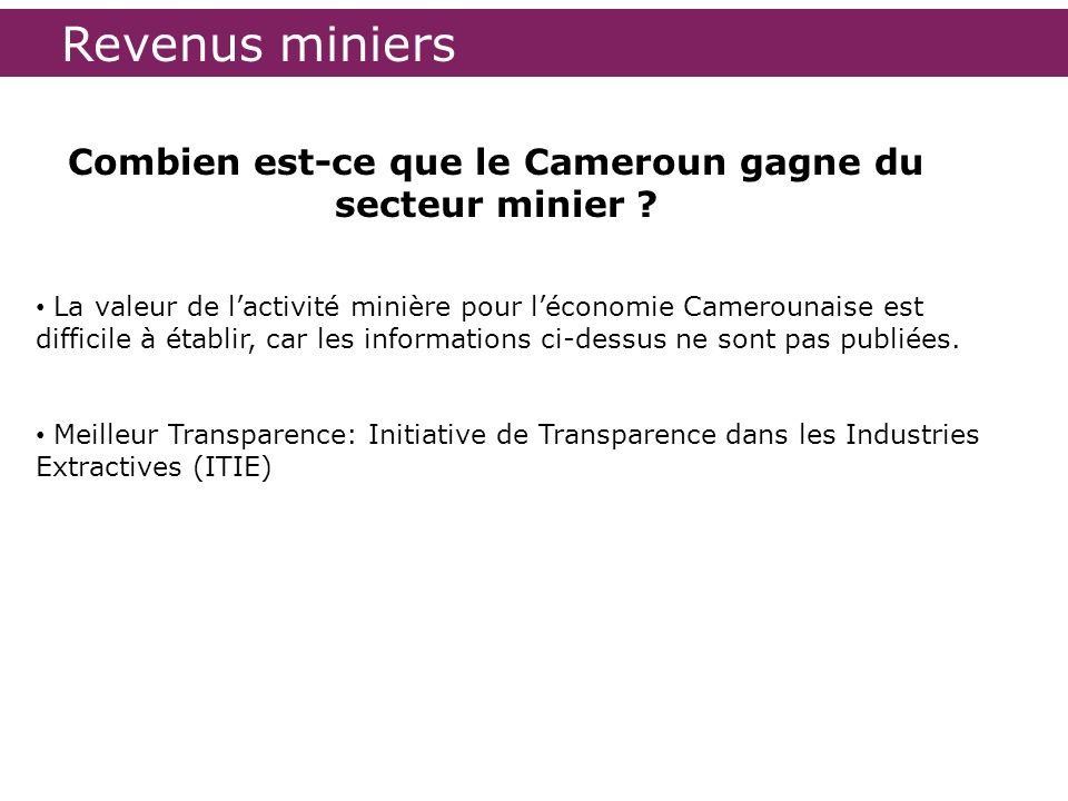 Combien est-ce que le Cameroun gagne du secteur minier