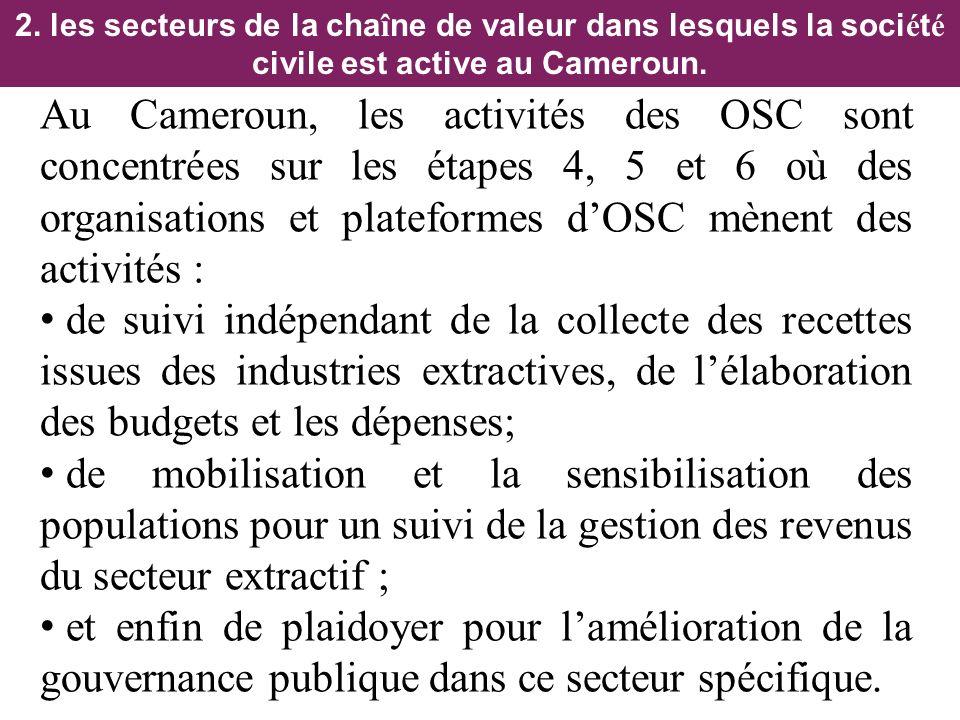 2. les secteurs de la chaîne de valeur dans lesquels la société civile est active au Cameroun.