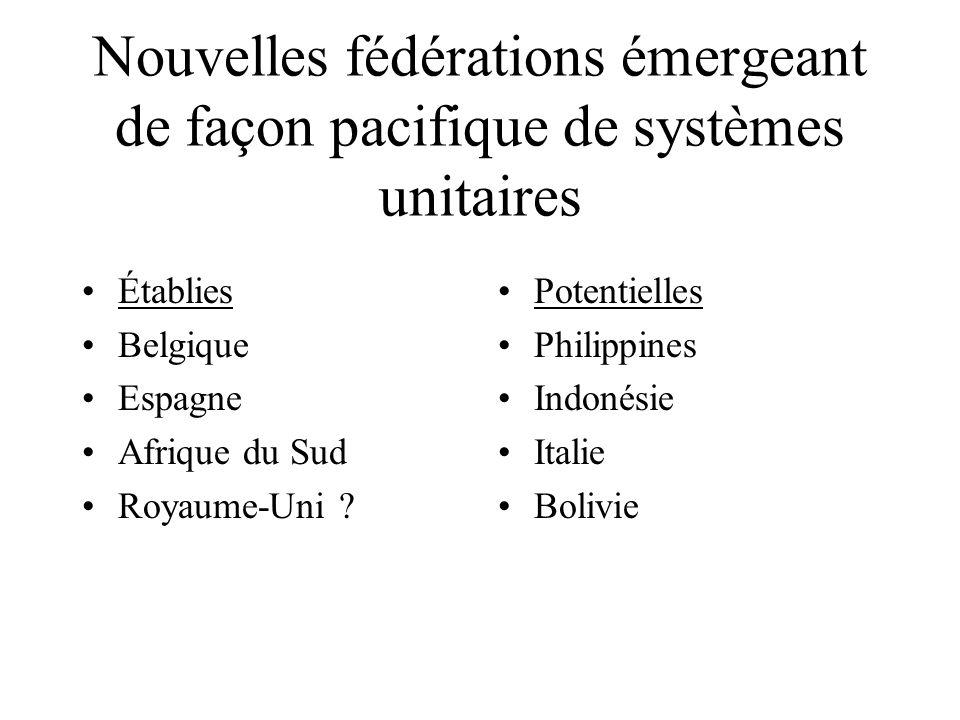 Nouvelles fédérations émergeant de façon pacifique de systèmes unitaires