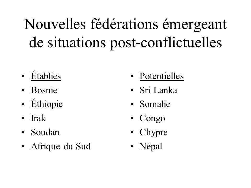 Nouvelles fédérations émergeant de situations post-conflictuelles