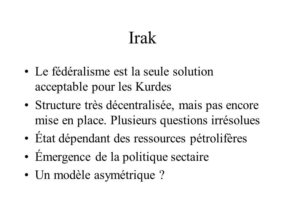 Irak Le fédéralisme est la seule solution acceptable pour les Kurdes
