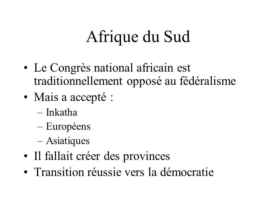 Afrique du Sud Le Congrès national africain est traditionnellement opposé au fédéralisme. Mais a accepté :