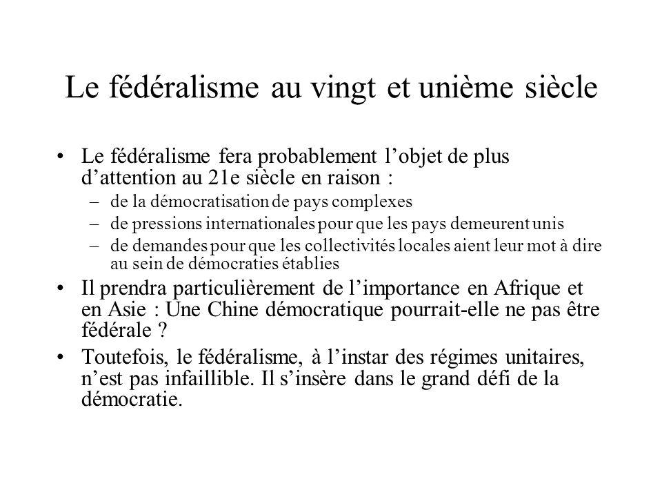 Le fédéralisme au vingt et unième siècle